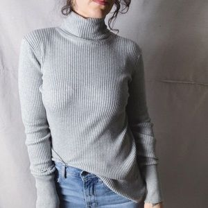 GAP Ribbed Stretch Turtleneck Grey Medium
